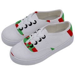 Fabric Christmas Red White Green Kids  Classic Low Top Sneakers by Onesevenart