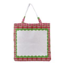 Frame Pattern Christmas Frame Grocery Tote Bag by Onesevenart
