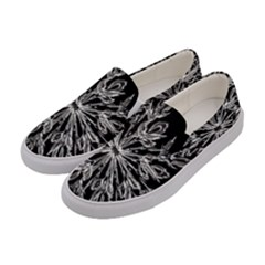 Ice Crystal Ice Form Frost Fabric Women s Canvas Slip Ons by Onesevenart