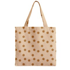 Pattern Gingerbread Star Zipper Grocery Tote Bag by Onesevenart