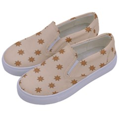 Pattern Gingerbread Star Kids  Canvas Slip Ons by Onesevenart