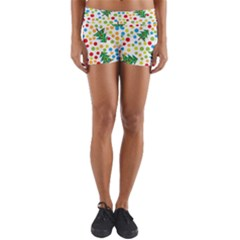 Pattern Circle Multi Color Yoga Shorts by Onesevenart