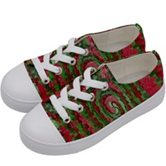 Red Green Swirl Twirl Colorful Kids  Low Top Canvas Sneakers by Onesevenart