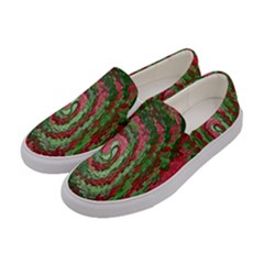 Red Green Swirl Twirl Colorful Women s Canvas Slip Ons by Onesevenart