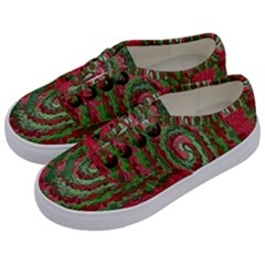 Red Green Swirl Twirl Colorful Kids  Classic Low Top Sneakers by Onesevenart