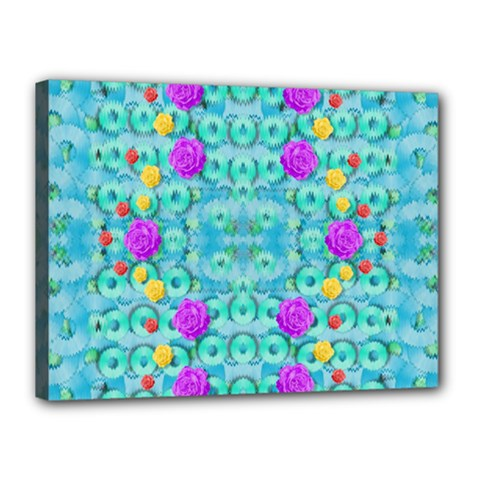 Season For Roses And Polka Dots Canvas 16  X 12  by pepitasart