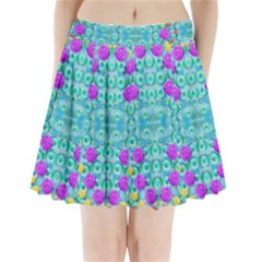 Season For Roses And Polka Dots Pleated Mini Skirt by pepitasart
