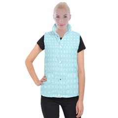 Snowflakes Paper Christmas Paper Women s Button Up Puffer Vest by Onesevenart