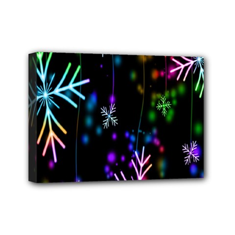 Snowflakes Snow Winter Christmas Mini Canvas 7  X 5  by Onesevenart
