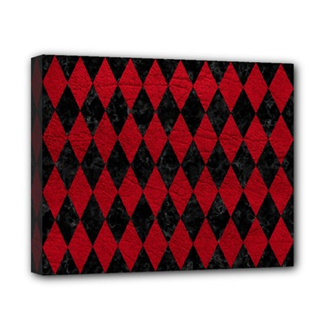 Diamond1 Black Marble & Red Leather Canvas 10  X 8  by trendistuff