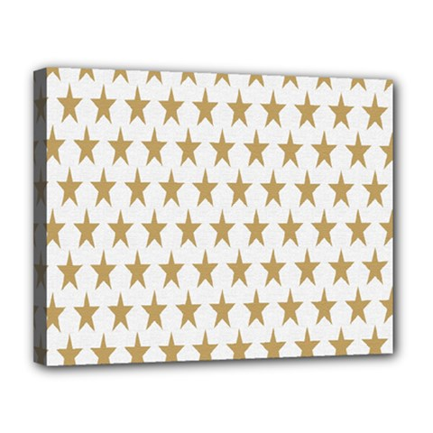 Star Background Gold White Canvas 14  X 11  by Onesevenart