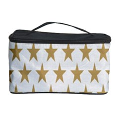 Star Background Gold White Cosmetic Storage Case by Onesevenart