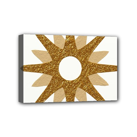 Star Golden Glittering Yellow Rays Mini Canvas 6  X 4  by Onesevenart
