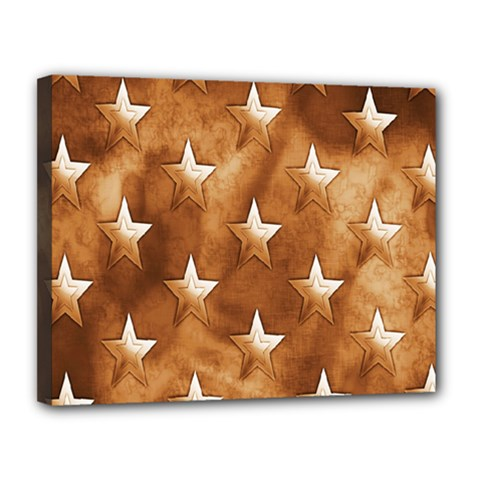 Stars Brown Background Shiny Canvas 14  X 11  by Onesevenart