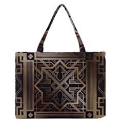 Gold Metallic And Black Art Deco Zipper Medium Tote Bag by 8fugoso