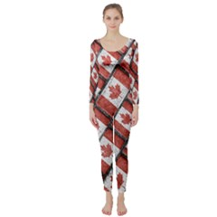 Canadian Flag Motif Pattern Long Sleeve Catsuit by dflcprints