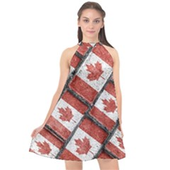 Canadian Flag Motif Pattern Halter Neckline Chiffon Dress  by dflcprints