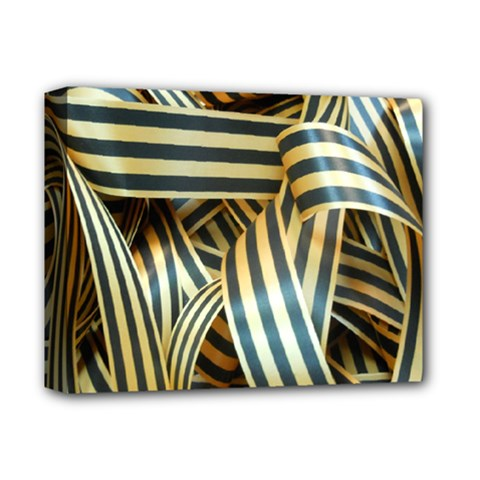 Ribbons Black Yellow Deluxe Canvas 14  X 11  by Jojostore