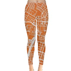 Texsas New York Map Art City Line Street Leggings  by Jojostore
