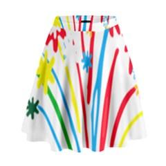 Fireworks Rainbow Flower High Waist Skirt by Mariart