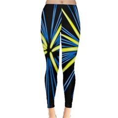 Fireworks Blue Green Black Happy New Year Leggings  by Mariart