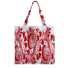 Red Flower Floral Leaf Zipper Grocery Tote Bag by Mariart
