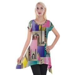 Magazine Balance Plaid Rainbow Short Sleeve Side Drop Tunic by Mariart