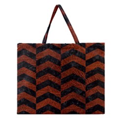 Chevron2 Black Marble & Reddish Brown Leather Zipper Large Tote Bag by trendistuff