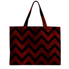 Chevron9 Black Marble & Reddish Brown Leather Zipper Mini Tote Bag by trendistuff