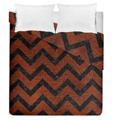 Chevron9 Black Marble & Reddish Brown Leather Duvet Cover Double Side (queen Size) by trendistuff