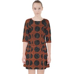Circles1 Black Marble & Reddish Brown Leather Pocket Dress by trendistuff