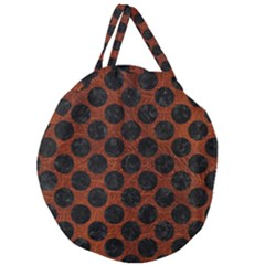 Circles2 Black Marble & Reddish Brown Leather Giant Round Zipper Tote by trendistuff