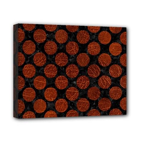 Circles2 Black Marble & Reddish Brown Leather (r) Canvas 10  X 8  by trendistuff