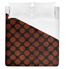 Circles2 Black Marble & Reddish Brown Leather (r) Duvet Cover (queen Size) by trendistuff