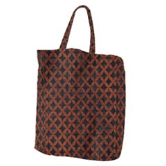 Circles3 Black Marble & Reddish Brown Leather (r) Giant Grocery Zipper Tote by trendistuff