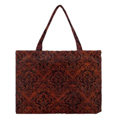 Damask1 Black Marble & Reddish Brown Leather Medium Tote Bag by trendistuff