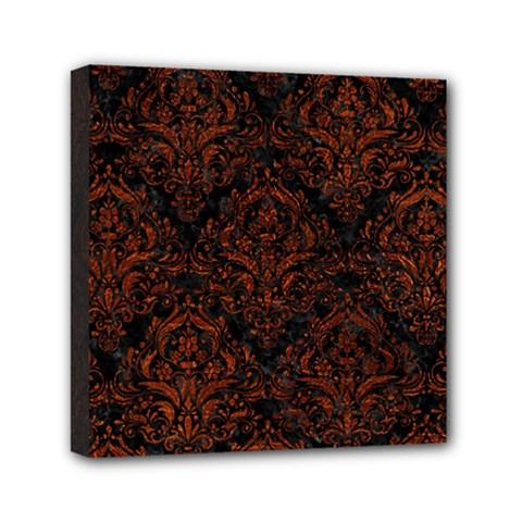 Damask1 Black Marble & Reddish Brown Leather (r) Mini Canvas 6  X 6  by trendistuff