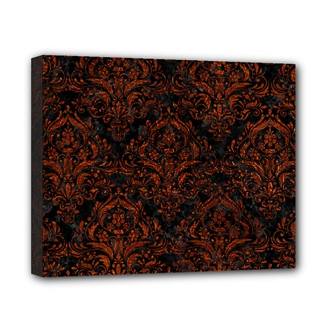 Damask1 Black Marble & Reddish Brown Leather (r) Canvas 10  X 8  by trendistuff