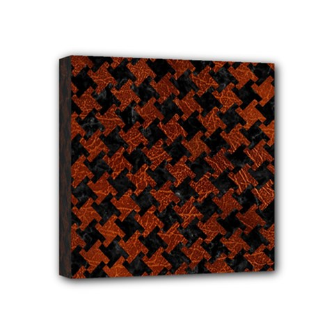 Houndstooth2 Black Marble & Reddish Brown Leather Mini Canvas 4  X 4  by trendistuff