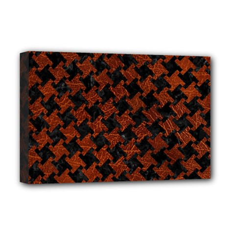 Houndstooth2 Black Marble & Reddish Brown Leather Deluxe Canvas 18  X 12   by trendistuff