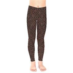 Hexagon1 Black Marble & Reddish Brown Leather (r) Kids  Legging by trendistuff