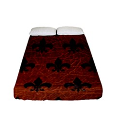 Royal1 Black Marble & Reddish Brown Leather (r) Fitted Sheet (full/ Double Size) by trendistuff