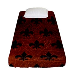 Royal1 Black Marble & Reddish Brown Leather (r) Fitted Sheet (single Size) by trendistuff