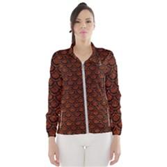 Scales2 Black Marble & Reddish Brown Leather Wind Breaker (women) by trendistuff