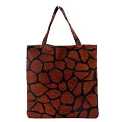 Skin1 Black Marble & Reddish Brown Leather (r) Grocery Tote Bag by trendistuff