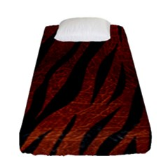 Skin3 Black Marble & Reddish Brown Leather Fitted Sheet (single Size) by trendistuff