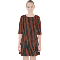 Skin4 Black Marble & Reddish Brown Leather Pocket Dress by trendistuff