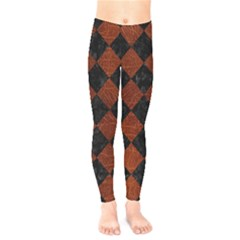 Square2 Black Marble & Reddish Brown Leather Kids  Legging by trendistuff