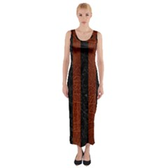Stripes1 Black Marble & Reddish Brown Leather Fitted Maxi Dress by trendistuff