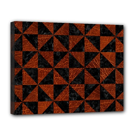 Triangle1 Black Marble & Reddish Brown Leather Canvas 14  X 11  by trendistuff